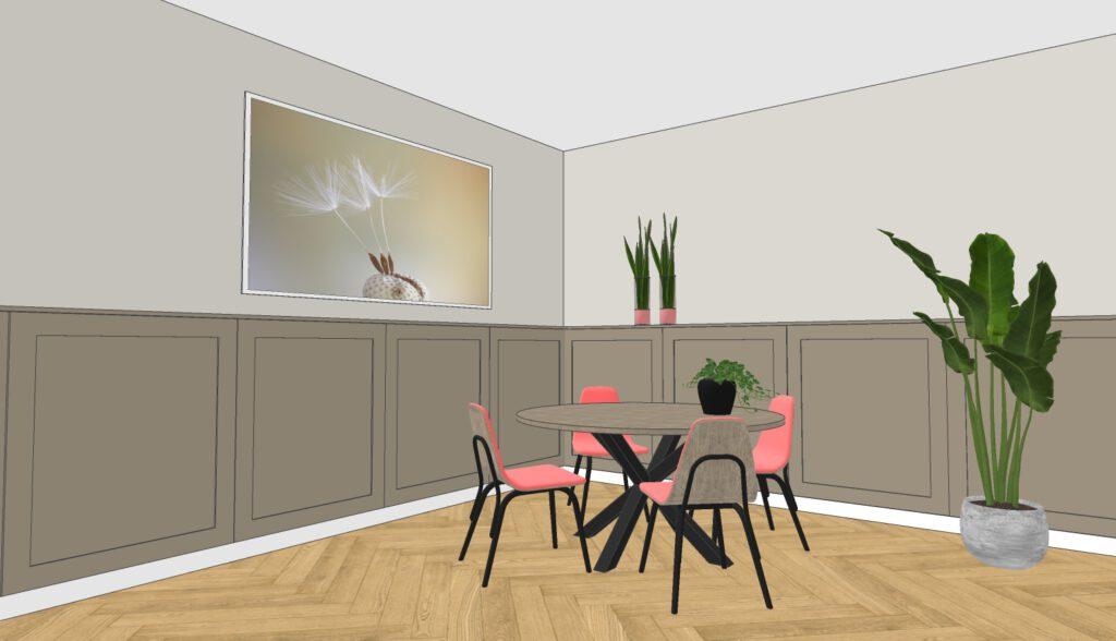 3D ontwerp woonhuis met lambrisering